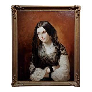 Johann Grund-19th Century Portrait of a Woman Wearing a Black Lace For Sale