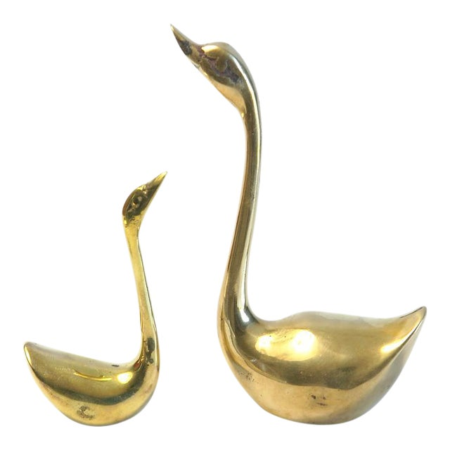 Brass Swan Figurines - A Pair For Sale