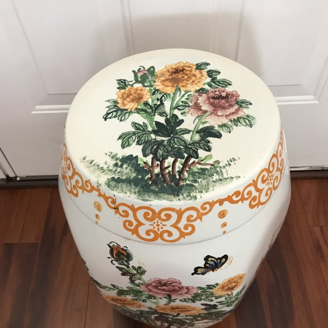 Asian Vintage Hand Painted Hexagonal Garden Seat For Sale - Image 3 of 6