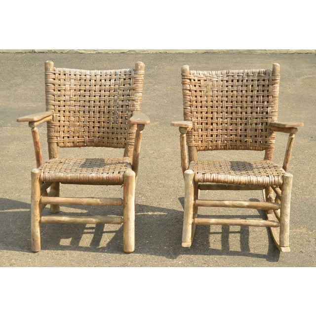 Rustic Old Hickory Antique Rustic Armchair & Rocker For Sale - Image 3 of 12