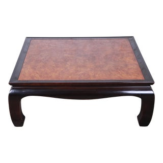 Century Furniture Black Lacquer and Burl Wood Chinoiserie Coffee Table For Sale
