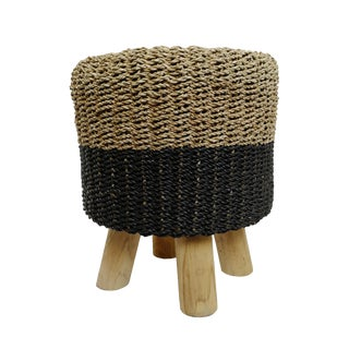 Black Dip Seagrass Stool For Sale