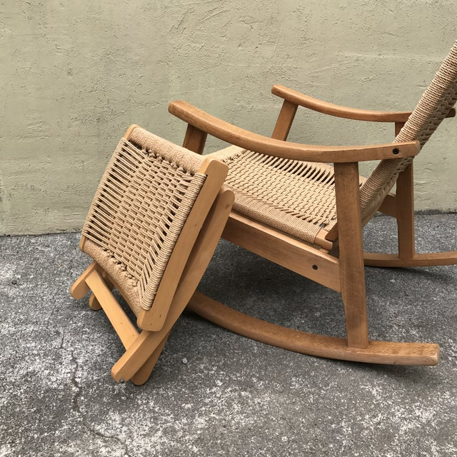 Hans Wegner Style Rocking Chair & Ottoman - A Pair - Image 11 of 11