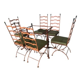 1950s Hollywood Regency Coral Painted Iron Dining Set For Sale