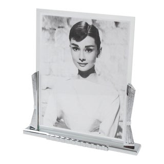 Large Art Deco Chrome Picture Frame For Sale