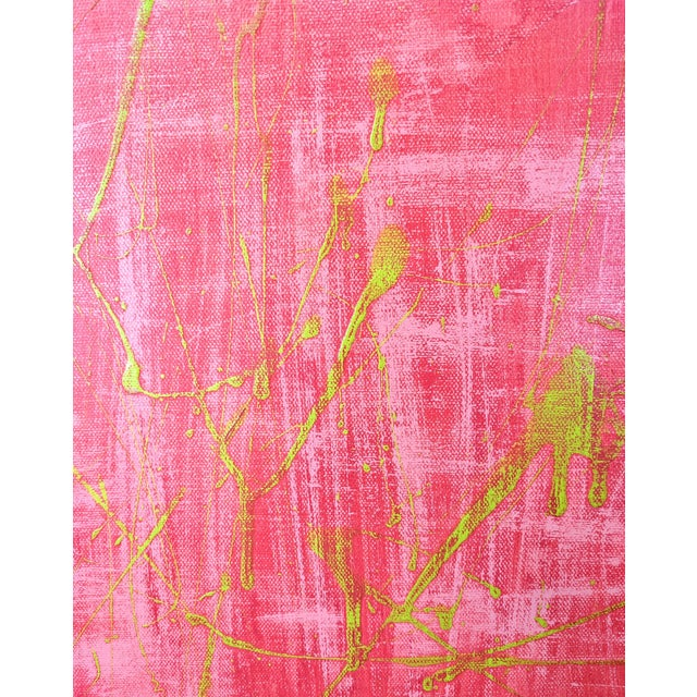 Abstract Original Abstract Watermelon Pink and Lime Green Splatter Painting For Sale - Image 3 of 6