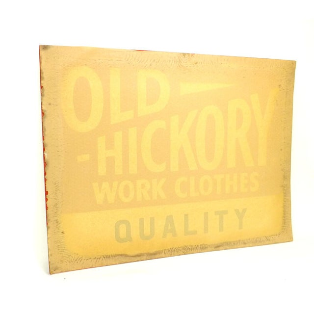 1950's Vintage Nos Old Hickory Workwear Sign For Sale In Charlotte - Image 6 of 8