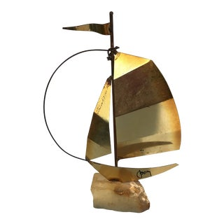 C. Jere Mid Century Signed Brass Sailboat For Sale