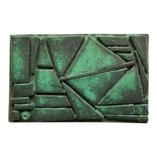 Glazed Green Ceramic Tile by Judy Engel For Sale