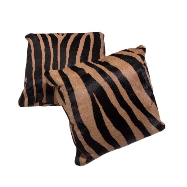 Contemporary Zebra Stencil Patten Cowhide Hair Pillows *Luxurious high sheen cowhide from Normandy France *Zebra Pattern...