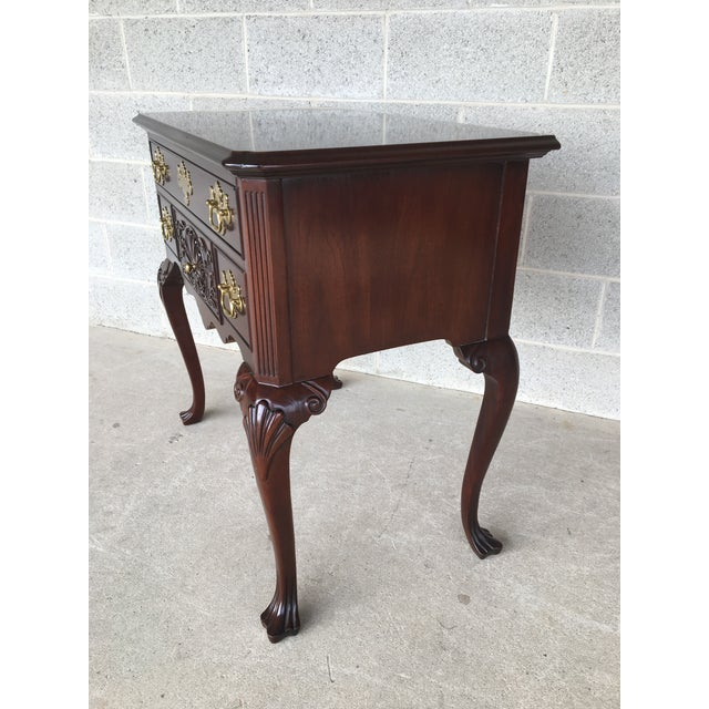 Chippendale Councill Craftsmen French Chippendale Style Solid Mahogany 5 Drawer Lowboy For Sale - Image 3 of 11