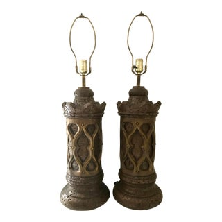 Spanish Revival Plaster Table Lamps - a Pair For Sale