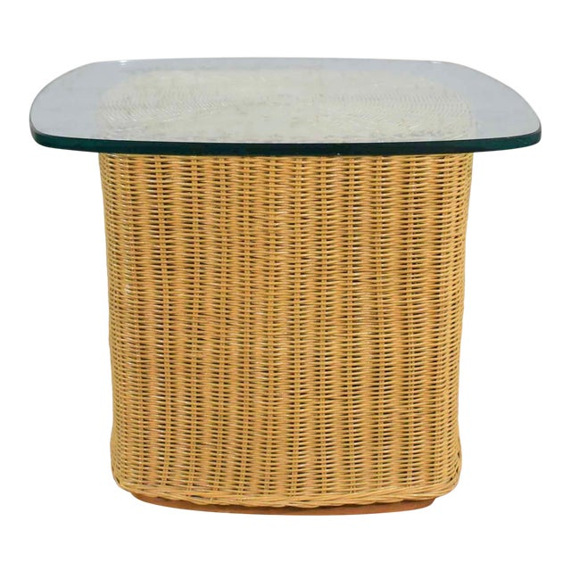 Rattan Wicker Organic Modern Side Table With Thick Glass Top For Sale