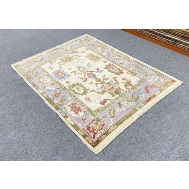 Beige Turkish Contemporary Floral Hand-Knotted Oushak Area Rug For Sale - Image 8 of 13