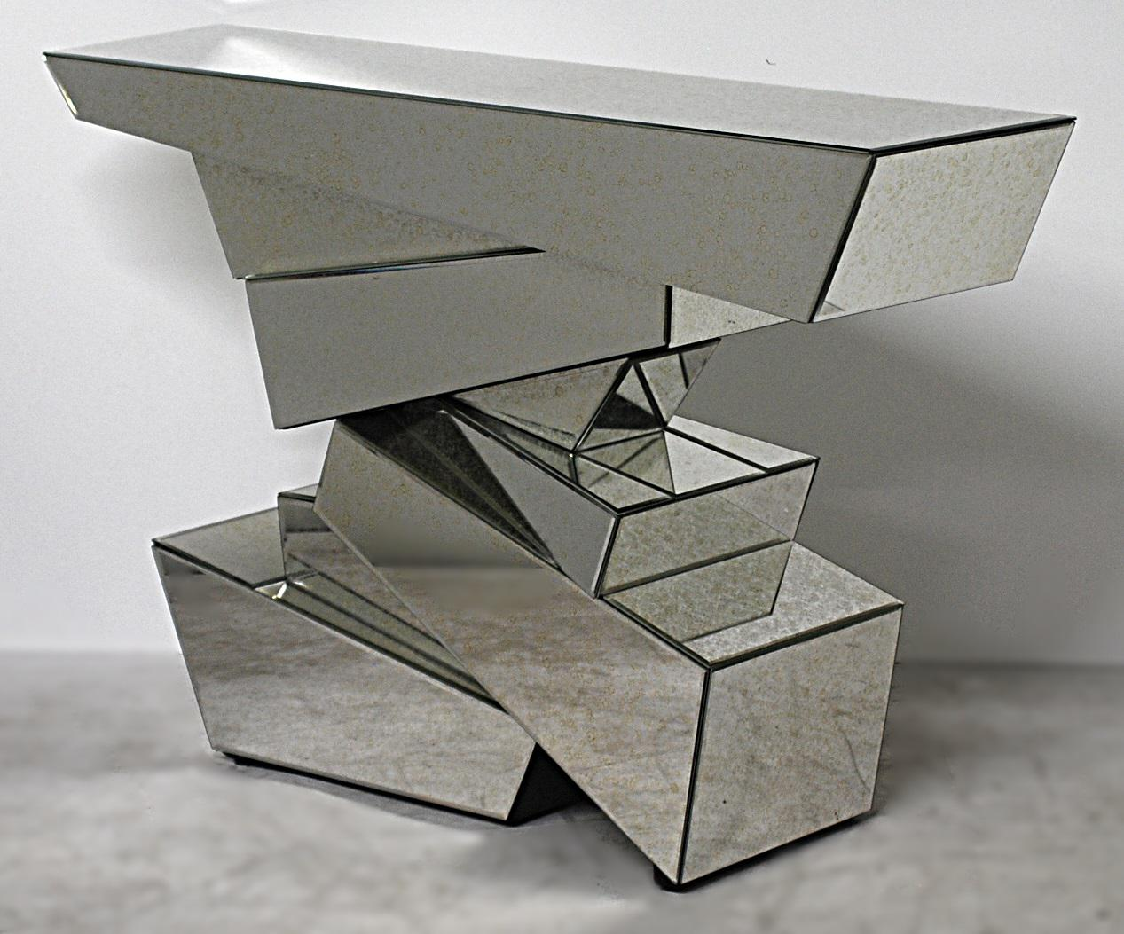Sirmos Style Rock Mirrored Console Tables, In The Manner Of Emilio Terry  A  Pair