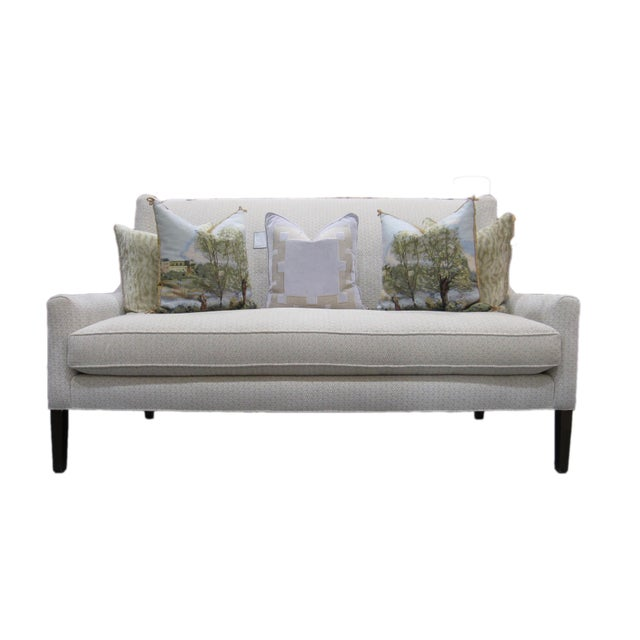 Textile Hickory White Upholstered Loveseat Sofa For Sale - Image 7 of 7