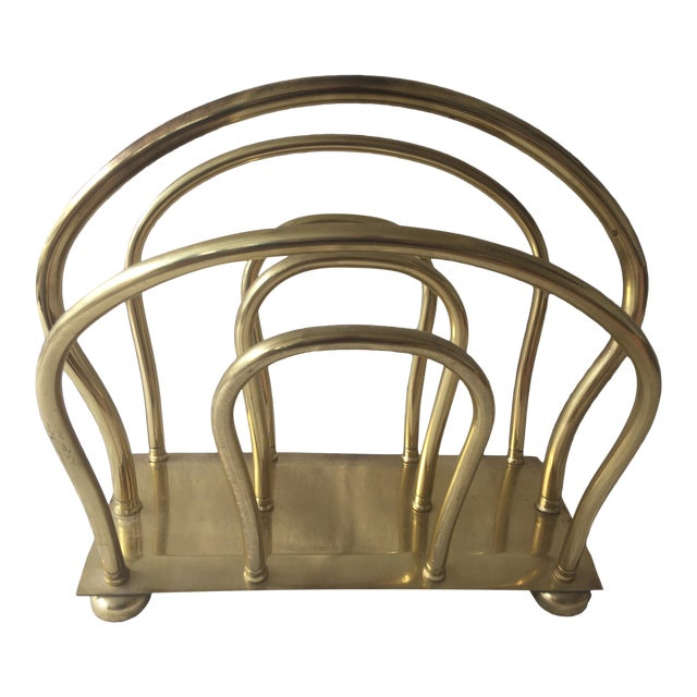 1980s Mid Century Solid Brass Magazine Rack For Sale