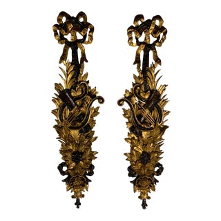 Italian Rococo Style Carved Wood Ebonized & Gilt Hangings - a Pair For Sale