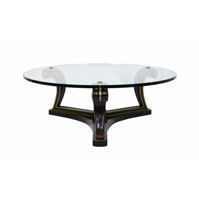 Brass 1960s Empire Ebonized Scroll Glass Top Coffee Table For Sale - Image 7 of 7