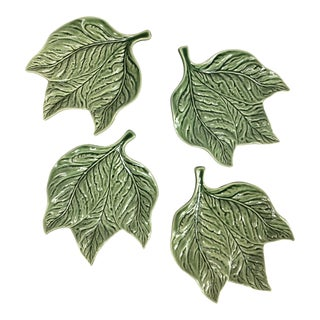 Bordallo Pinheiro Green Leaf Appetizer/Bread Plates - Set of 4 For Sale