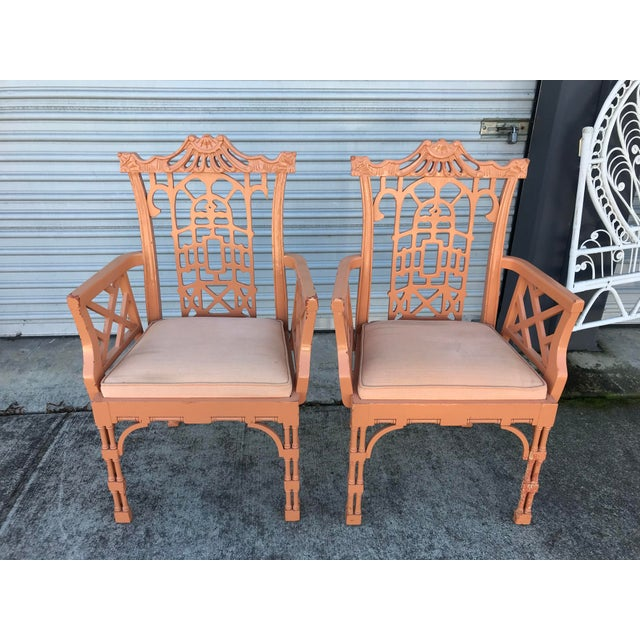 Vintage Fretwork Chinese Chippendale Dining Chairs - Set of 5 For Sale In San Francisco - Image 6 of 13