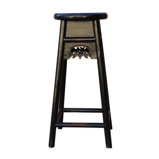 Quality Handmade Chinese Black Color Solid Elm Wood Bar Stool For Sale