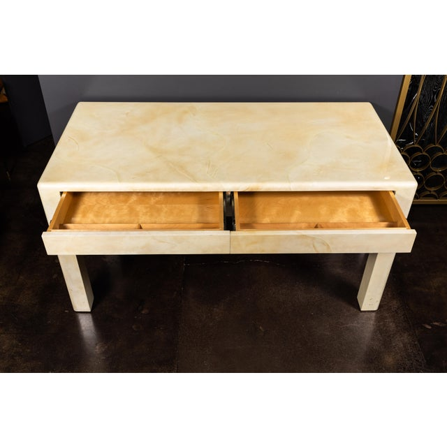 Contemporary 1980s Creme Colored Goatskin Desk by Karl Springer For Sale - Image 3 of 11