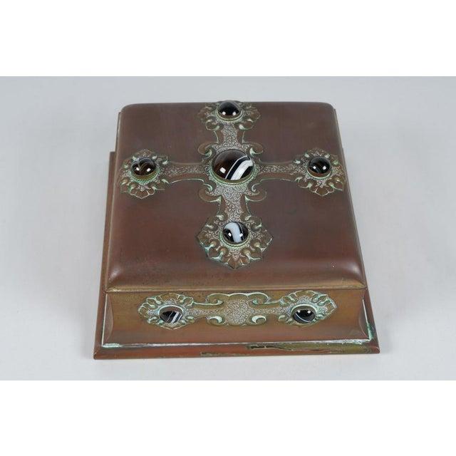 Renaissance Rare Antique Banded Agate & Brass Renaissance Style Box For Sale - Image 3 of 6