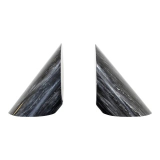 Contemporary Modern Cylindrical Black Marble Bookends - a Pair For Sale