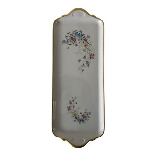 Vintage Tharaud Limoges Floral Sandwich Plate / Tray For Sale
