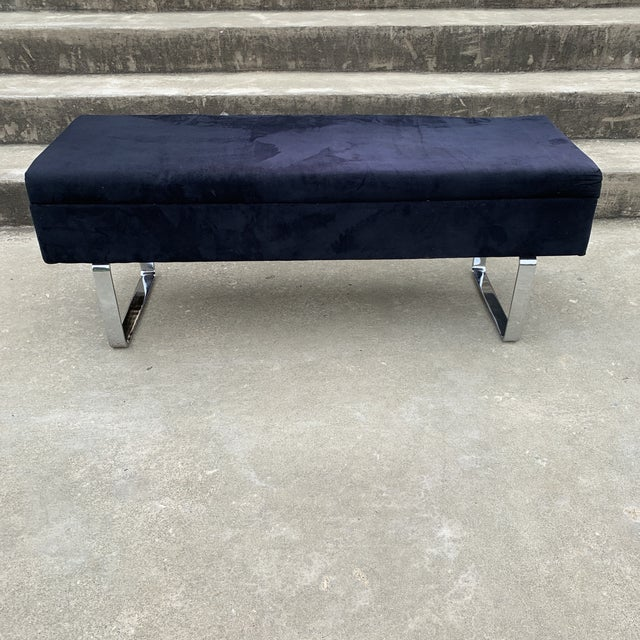 1980s Mid Century Chrome Bench With Storage For Sale - Image 10 of 10