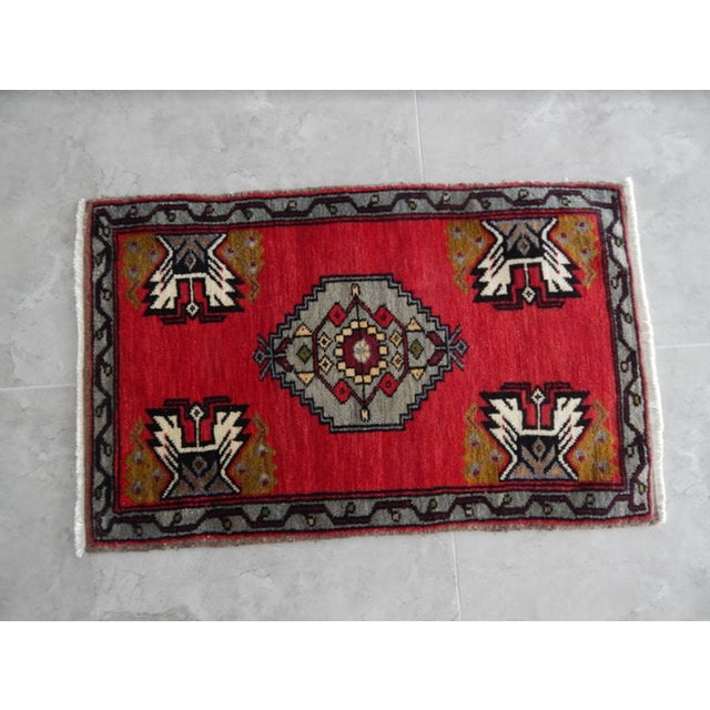 Red Small Turkish Accent Rug For Sale - Image 8 of 8