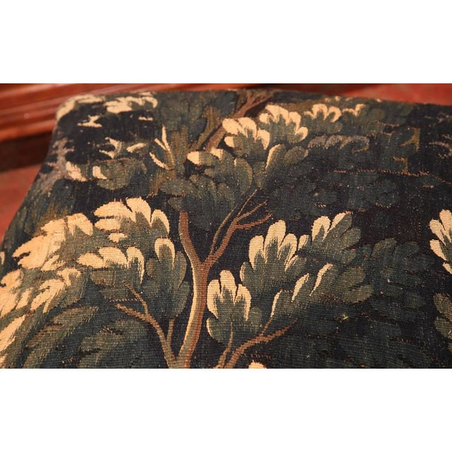 Green 18th Century French Louis XV Walnut Square Stool With Aubusson Tapestry For Sale - Image 8 of 9