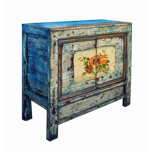 Chinese Floral Cabinet in Crackle Blue - Image 5 of 8