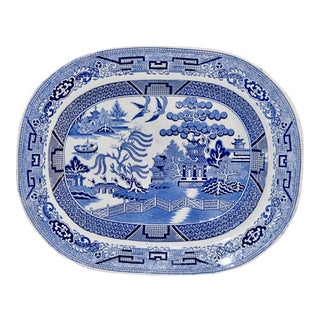 19th C. Blue Willow Staffordshire Platter For Sale