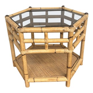 1970s Boho Chic Bamboo Morning Octagonal Table With Smoked Glass For Sale