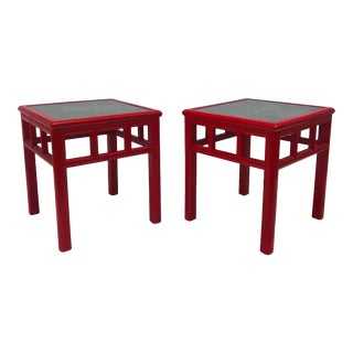 Mid-Century Stone Top Side Tables- a Pair For Sale