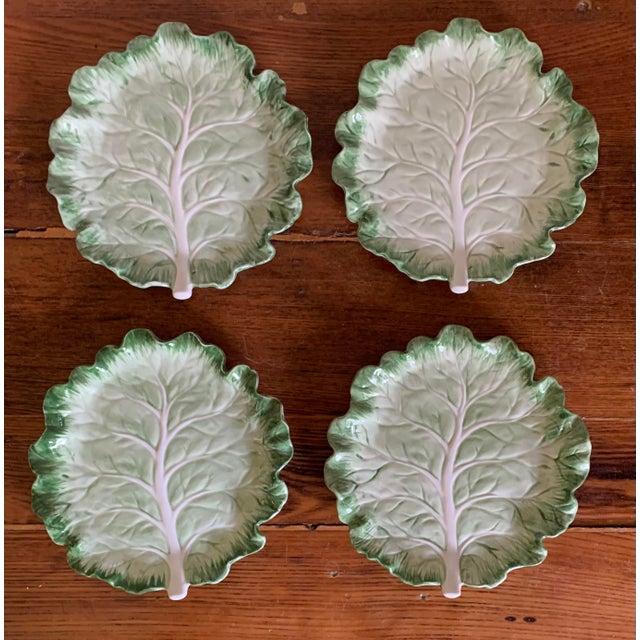 Vintage Fitz & Floyd Cabbage Leaf Ironstone China Dessert Plates- Set of 4 For Sale - Image 9 of 9
