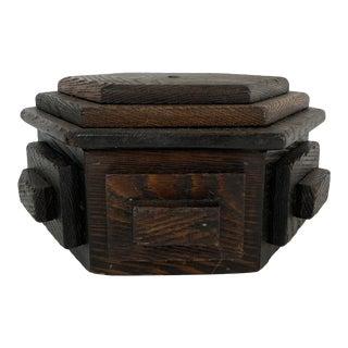 Vintage Folk Art Tramp Art Wood Box For Sale