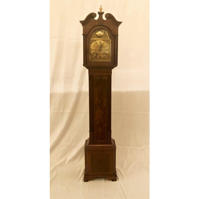 Late 19th Century Antique English Mahogany Grandmother Striking Clock, Circa 1900-1910. For Sale - Image 5 of 5