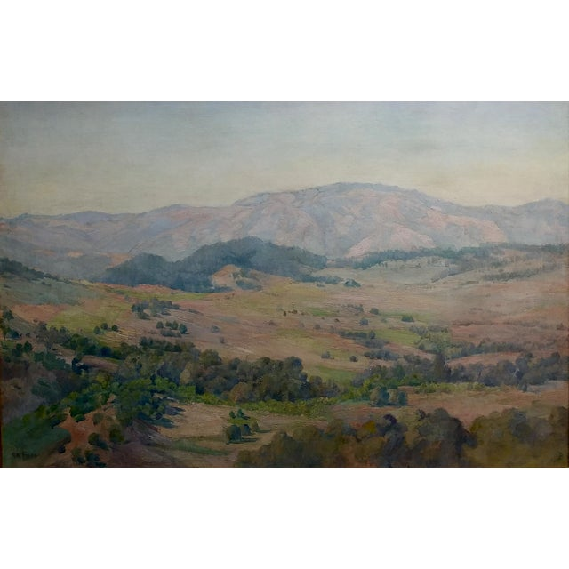 Impressionism Charles Fries -The Land of the Oaks-California Plein Air Oil Painting c1918 For Sale - Image 3 of 12