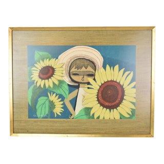 """Mid-Century Japanese """"Big-Eyed Girl W Sunflowers"""" Woodblock Print by Shuzo Ikeda For Sale"""