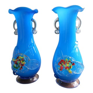 Handmade Glass Vases -A Pair For Sale