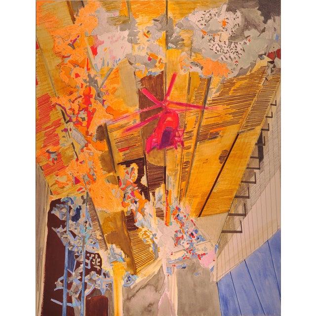 "Yasemin Kacka-Demirel Yasemin Kackar Demirel ""Burn, Burn, Burn"" Framed Mixed Media Painting on Paper For Sale - Image 4 of 4"