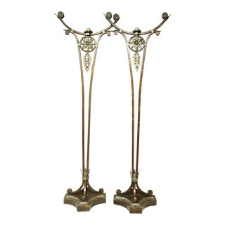 Vintage Gold Leaf Bronze Finish Fine Art Torchieres - a Pair For Sale