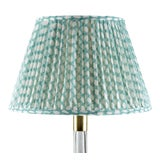 Image of Fermoie Gathered Linen Lampshade in Turquoise Wicker, 16 Inch For Sale
