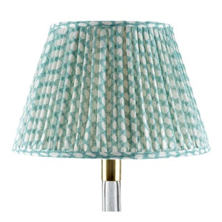 Fermoie Gathered Linen Lampshade in Turquoise Wicker, 16 Inch For Sale