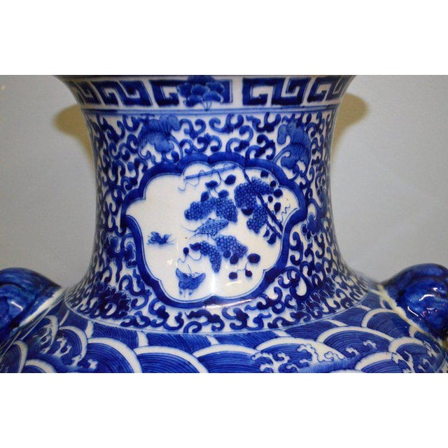 Large Blue & White Chinese Porcelain Vase with Figural Subjects and Foo Handles For Sale - Image 4 of 9