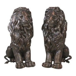 Bronze Monumental Sitting Lions - A Pair