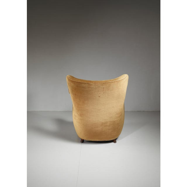 1940s Mogens Lassen style lounge chair with velour upholstery, Denmark, 1940s For Sale - Image 5 of 6